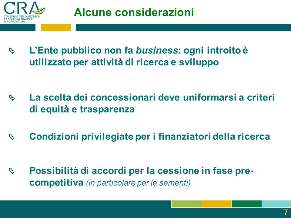 Alcune considerazioni LEnte pubblico non fa business: ogni introito è utilizzato per attività di ricerca e sviluppo Possibilità di accordi per la cess
