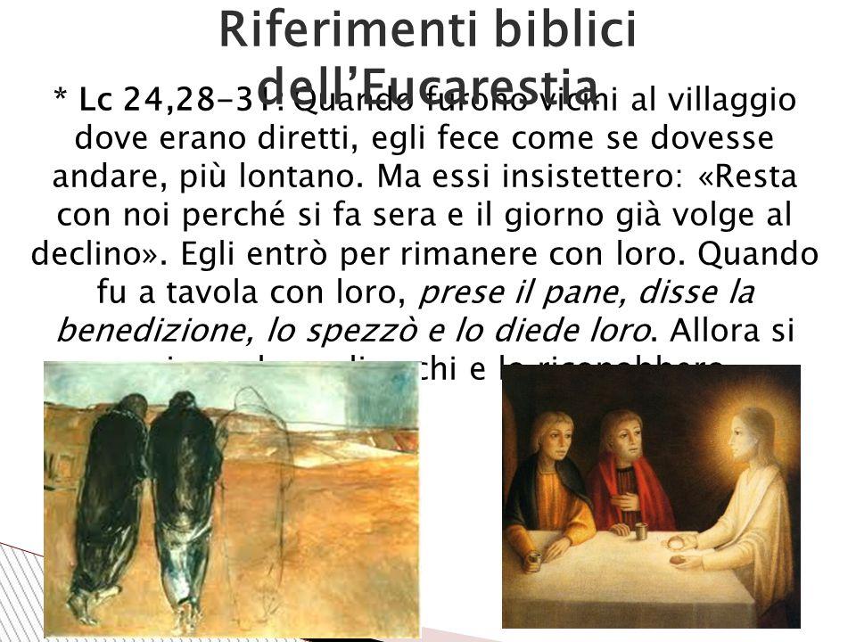 * Lc 24,28-31: Quando furono vicini al villaggio dove erano diretti, egli fece come se dovesse andare, più lontano.