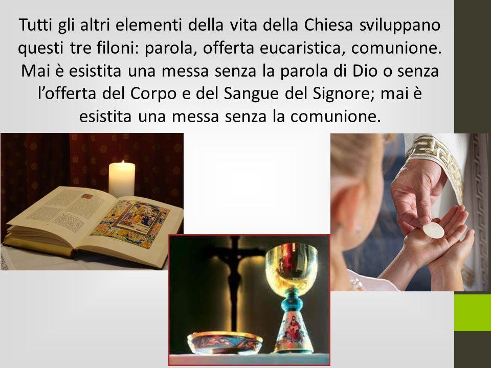 Tutti gli altri elementi della vita della Chiesa sviluppano questi tre filoni: parola, offerta eucaristica, comunione.
