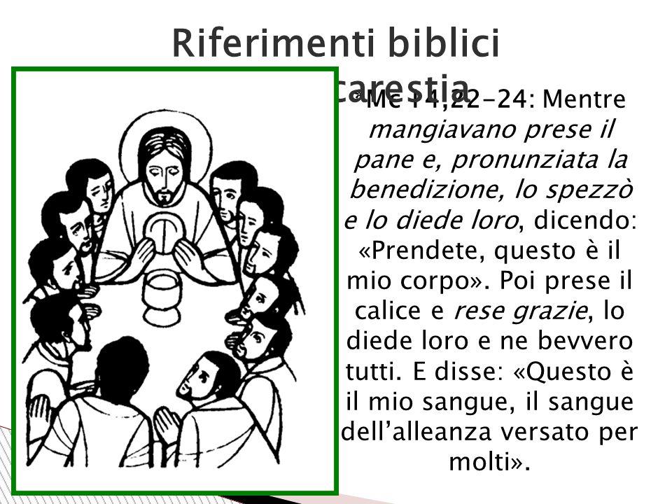 *Mc 14,22-24: Mentre mangiavano prese il pane e, pronunziata la benedizione, lo spezzò e lo diede loro, dicendo: «Prendete, questo è il mio corpo».