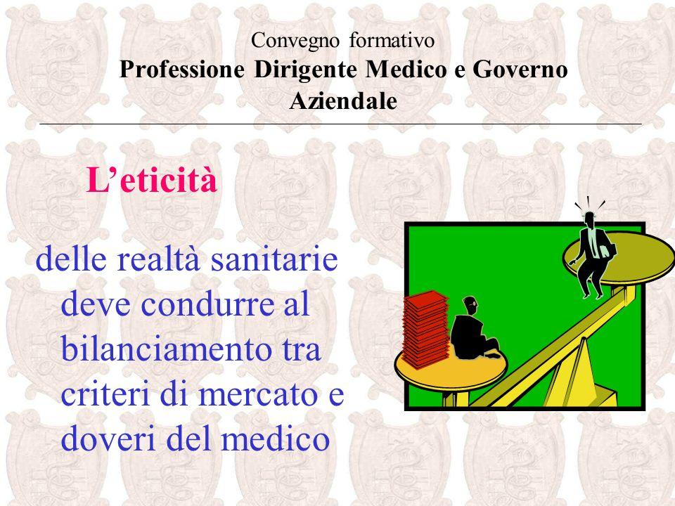 Convegno formativo Professione Dirigente Medico e Governo Aziendale delle realtà sanitarie deve condurre al bilanciamento tra criteri di mercato e doveri del medico Leticità