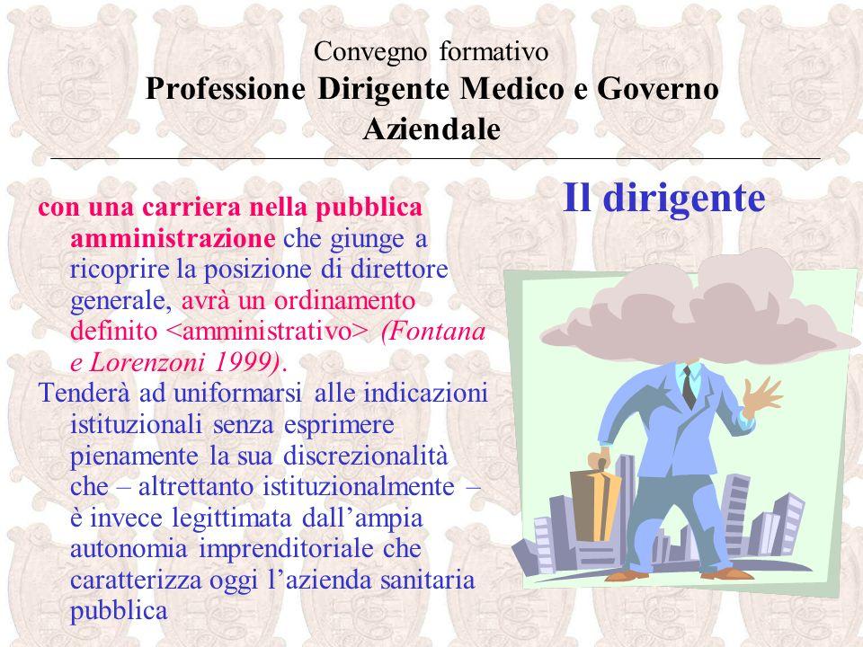 Convegno formativo Professione Dirigente Medico e Governo Aziendale con una carriera nella pubblica amministrazione che giunge a ricoprire la posizione di direttore generale, avrà un ordinamento definito (Fontana e Lorenzoni 1999).