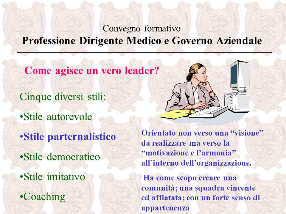 Convegno formativo Professione Dirigente Medico e Governo Aziendale Come agisce un vero leader.