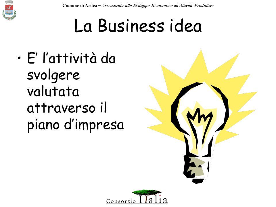 Comune di Ardea – Assessorato allo Sviluppo Economico ed Attività Produttive Lavviamento dellattività richiede: Business idea Business plan