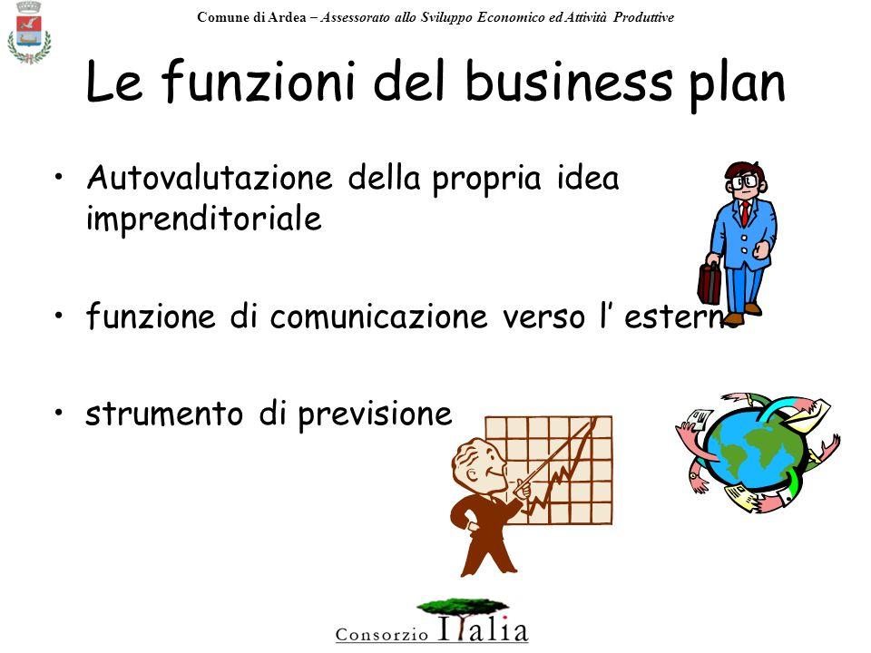 Comune di Ardea – Assessorato allo Sviluppo Economico ed Attività Produttive Il Business plan E il piano di attività dellimpresa sintetizzata e razionalizzata in un documento