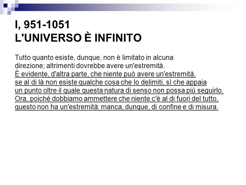 I, 951-1051 L UNIVERSO È INFINITO Tutto quanto esiste, dunque, non è limitato in alcuna direzione; altrimenti dovrebbe avere un estremità.
