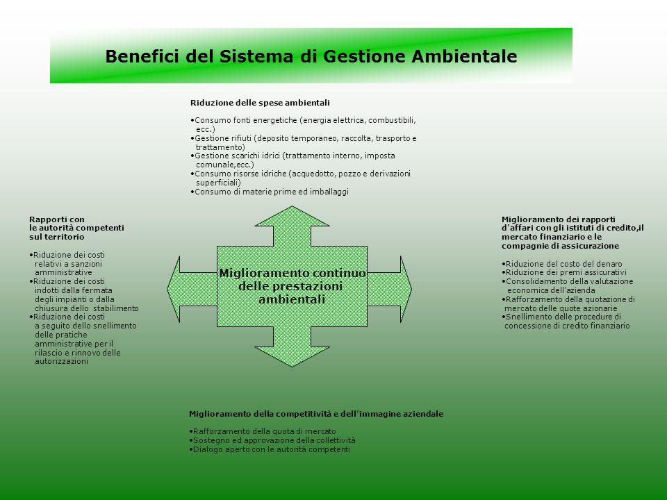 Benefici del Sistema di Gestione Ambientale Miglioramento continuo delle prestazioni ambientali Rapporti con le autorità competenti sul territorio Rid