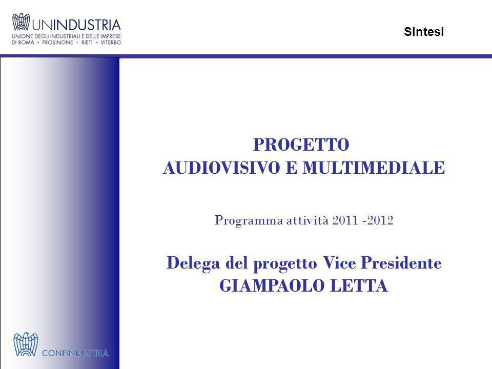 PROGETTO AUDIOVISIVO E MULTIMEDIALE Programma attività 2011 -2012 Delega del progetto Vice Presidente GIAMPAOLO LETTA Sintesi