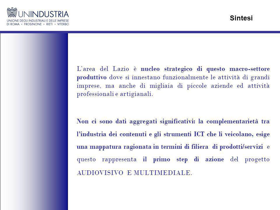 Larea del Lazio è nucleo strategico di questo macro-settore produttivo dove si innestano funzionalmente le attività di grandi imprese, ma anche di migliaia di piccole aziende ed attività professionali e artigianali.