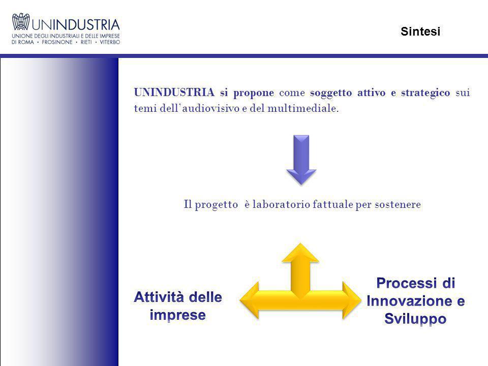 UNINDUSTRIA si propone come soggetto attivo e strategico sui temi dellaudiovisivo e del multimediale. Sintesi Il progetto è laboratorio fattuale per s