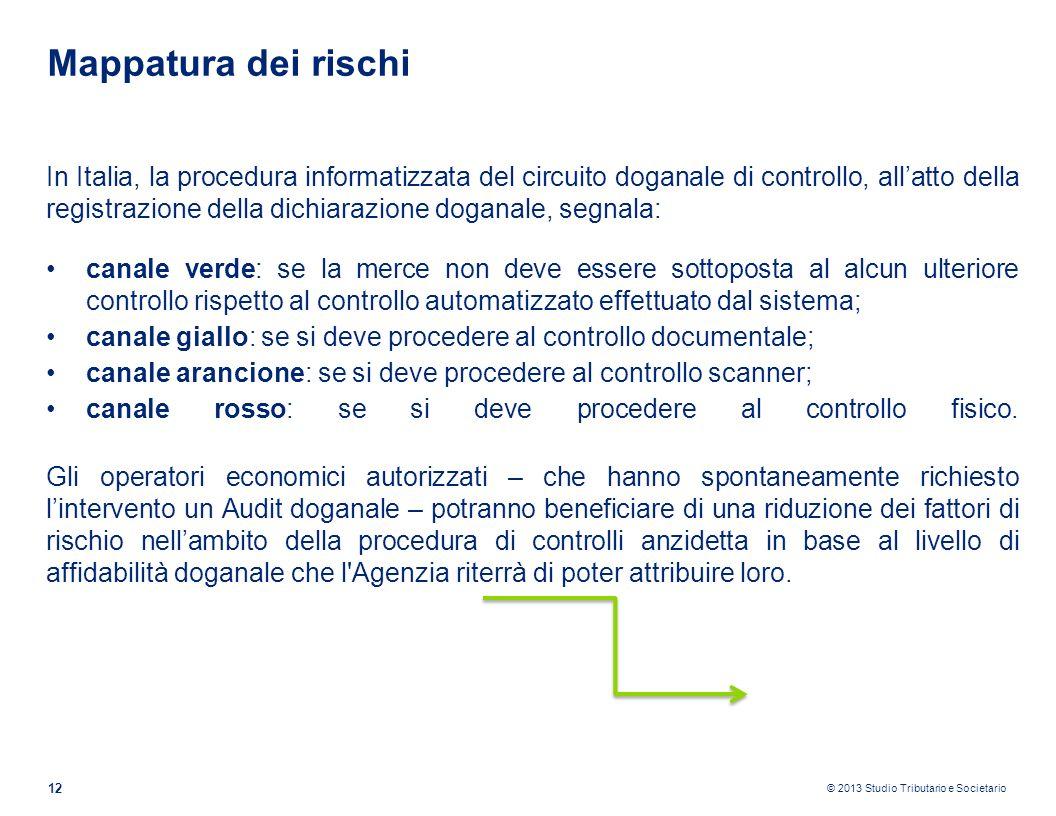 © 2013 Studio Tributario e Societario 12 Mappatura dei rischi In Italia, la procedura informatizzata del circuito doganale di controllo, allatto della
