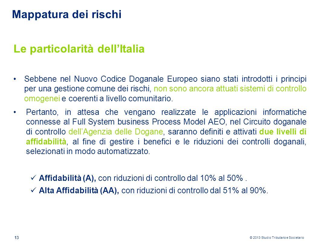 © 2013 Studio Tributario e Societario 13 Mappatura dei rischi Le particolarità dellItalia Sebbene nel Nuovo Codice Doganale Europeo siano stati introd