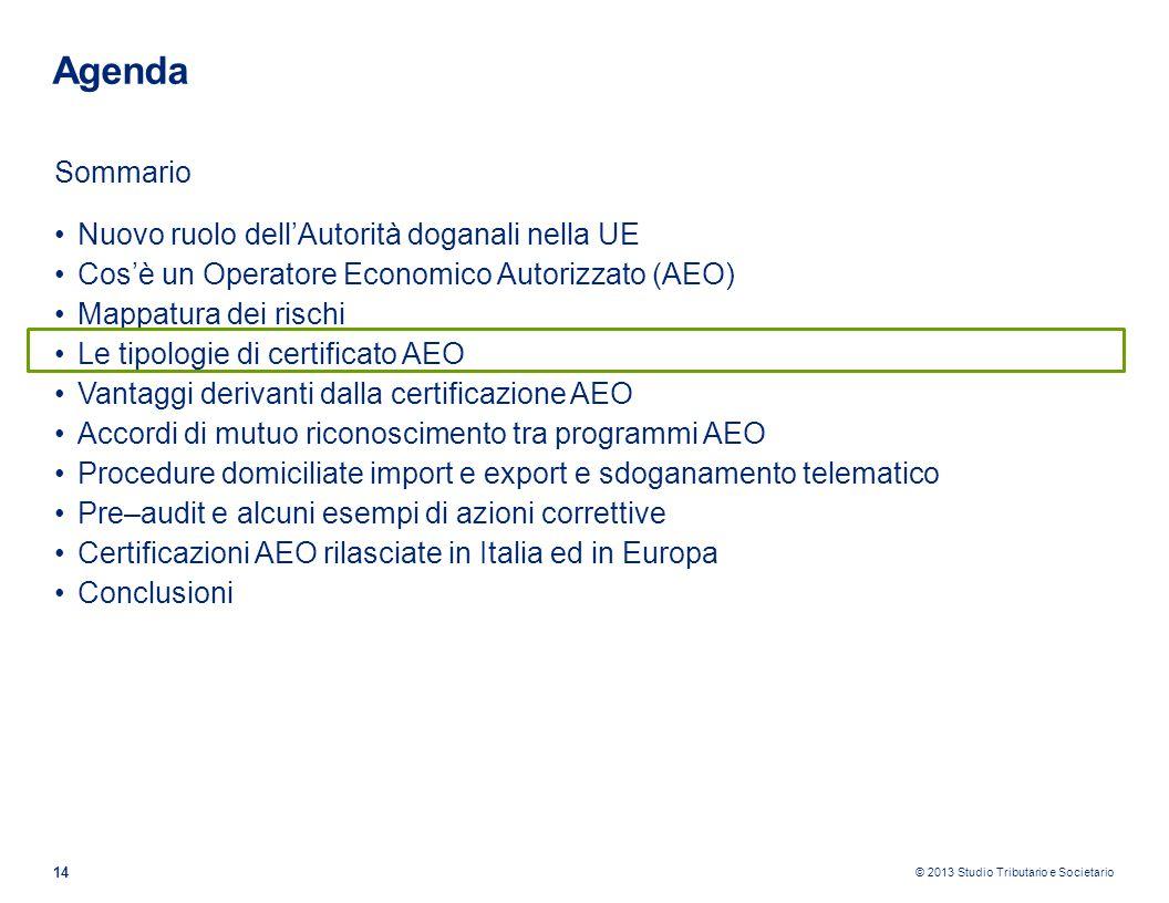© 2013 Studio Tributario e Societario 14 Agenda Sommario Nuovo ruolo dellAutorità doganali nella UE Cosè un Operatore Economico Autorizzato (AEO) Mapp