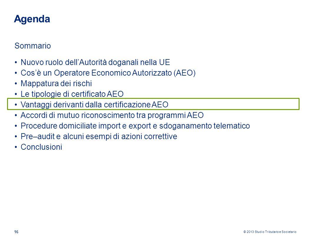© 2013 Studio Tributario e Societario 16 Agenda Sommario Nuovo ruolo dellAutorità doganali nella UE Cosè un Operatore Economico Autorizzato (AEO) Mapp