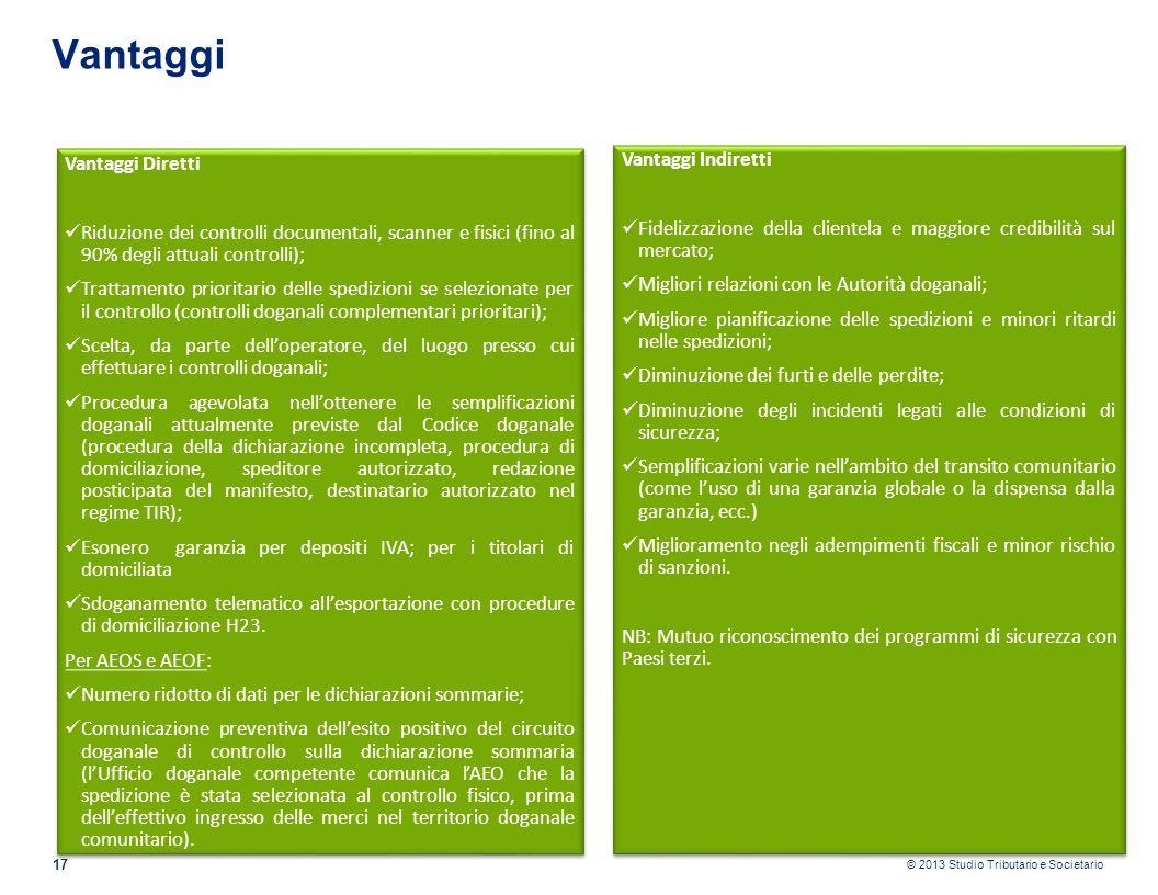 © 2013 Studio Tributario e Societario 17 Vantaggi Vantaggi Indiretti Fidelizzazione della clientela e maggiore credibilità sul mercato; Migliori relaz