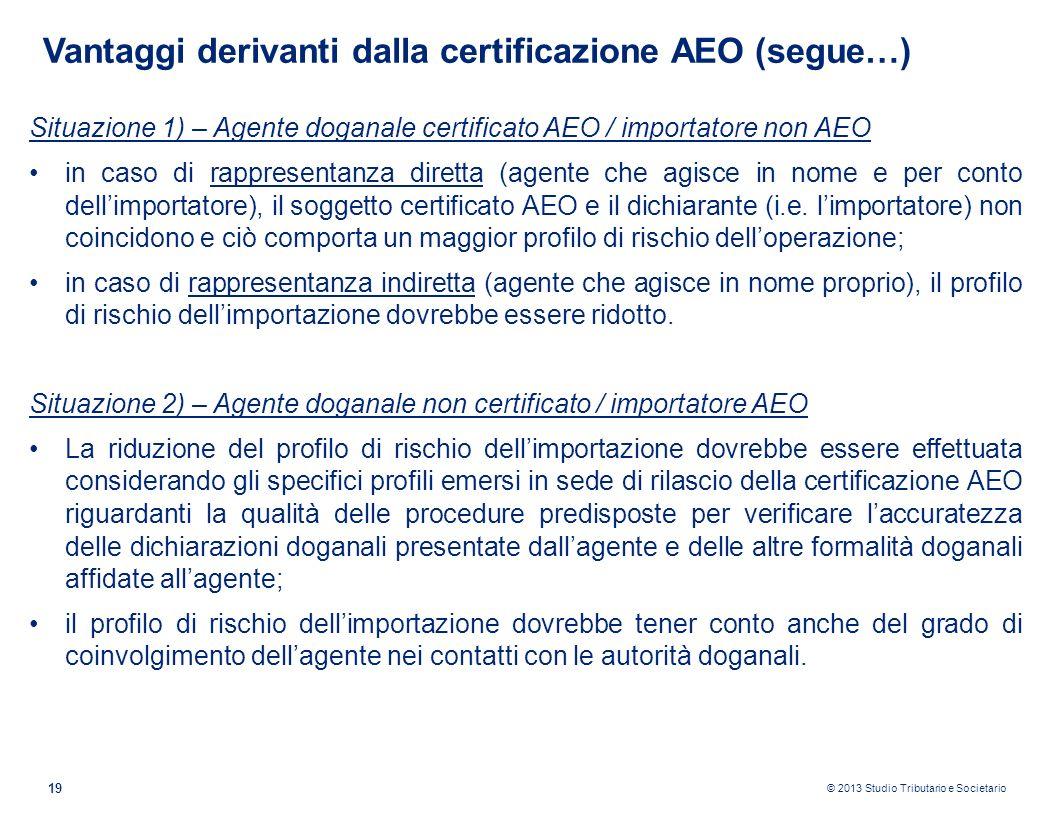 © 2013 Studio Tributario e Societario 19 Vantaggi derivanti dalla certificazione AEO (segue…) Situazione 1) – Agente doganale certificato AEO / import