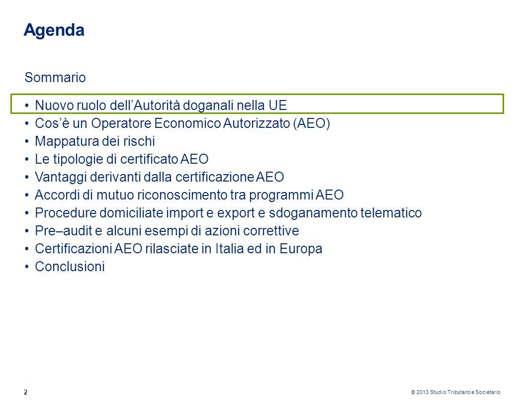 © 2013 Studio Tributario e Societario 2 Agenda Sommario Nuovo ruolo dellAutorità doganali nella UE Cosè un Operatore Economico Autorizzato (AEO) Mappa
