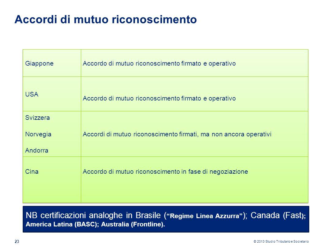 © 2013 Studio Tributario e Societario 23 Accordi di mutuo riconoscimento NB certificazioni analoghe in Brasile ( Regime Linea Azzurra ); Canada (Fast