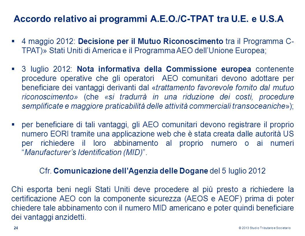 © 2013 Studio Tributario e Societario 24 Accordo relativo ai programmi A.E.O./C-TPAT tra U.E. e U.S.A 4 maggio 2012: Decisione per il Mutuo Riconoscim