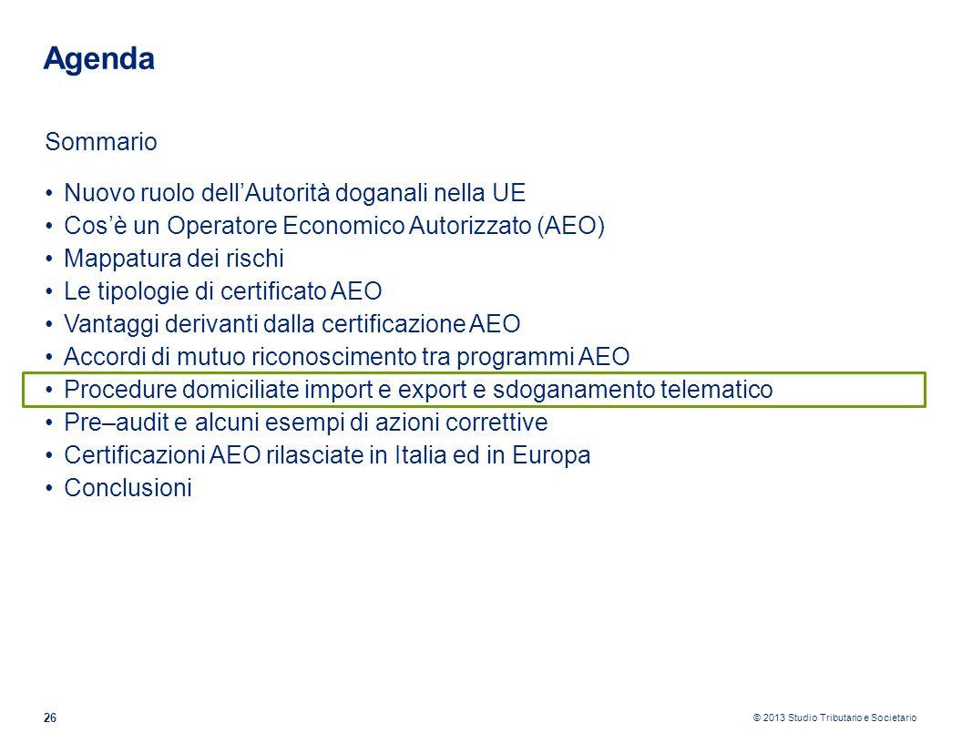 © 2013 Studio Tributario e Societario 26 Agenda Sommario Nuovo ruolo dellAutorità doganali nella UE Cosè un Operatore Economico Autorizzato (AEO) Mapp