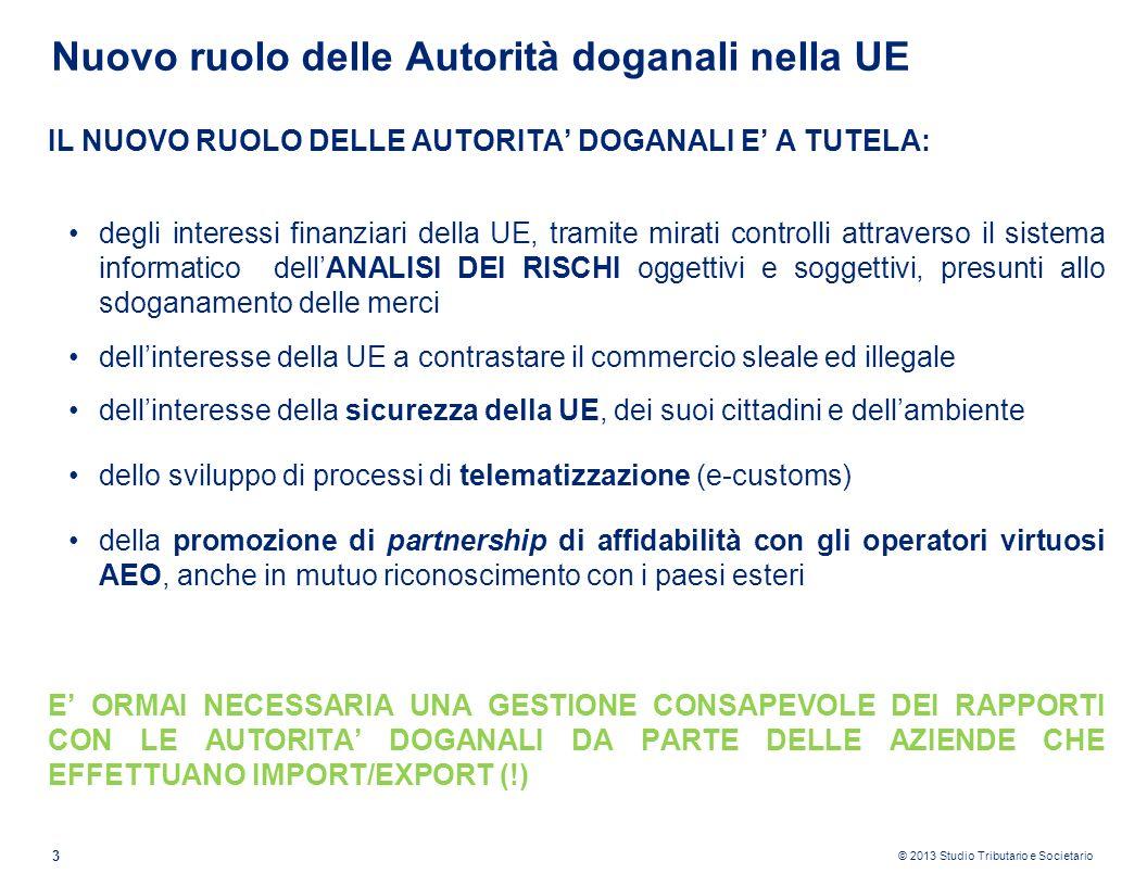 © 2013 Studio Tributario e Societario 3 Nuovo ruolo delle Autorità doganali nella UE IL NUOVO RUOLO DELLE AUTORITA DOGANALI E A TUTELA: degli interess
