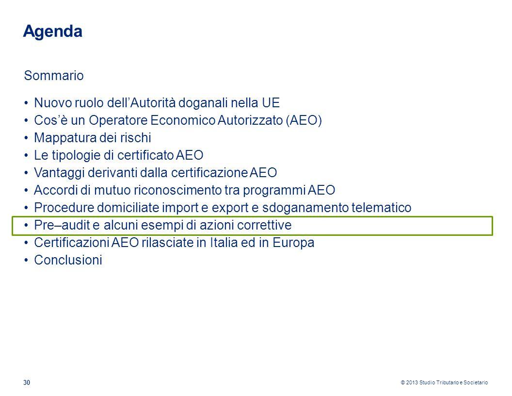 © 2013 Studio Tributario e Societario 30 Agenda Sommario Nuovo ruolo dellAutorità doganali nella UE Cosè un Operatore Economico Autorizzato (AEO) Mapp