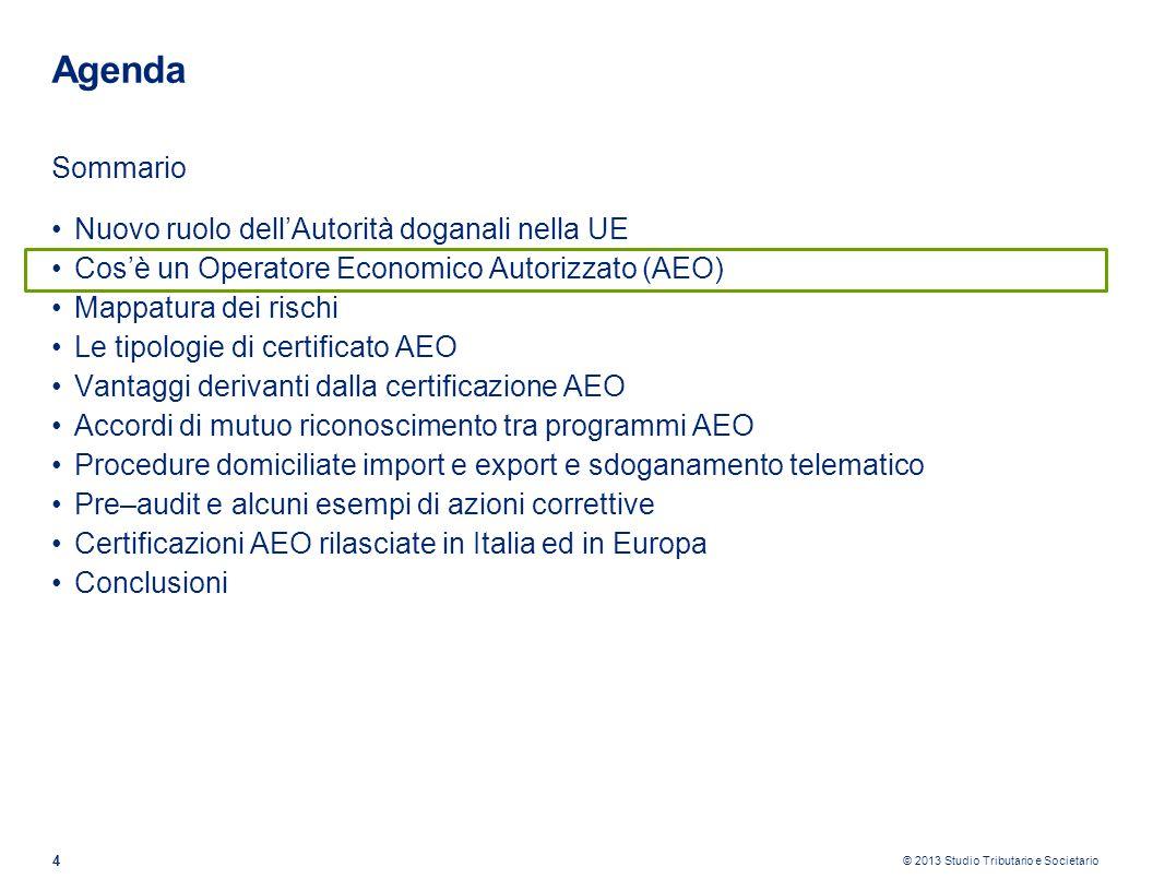 © 2013 Studio Tributario e Societario 4 Agenda Sommario Nuovo ruolo dellAutorità doganali nella UE Cosè un Operatore Economico Autorizzato (AEO) Mappa