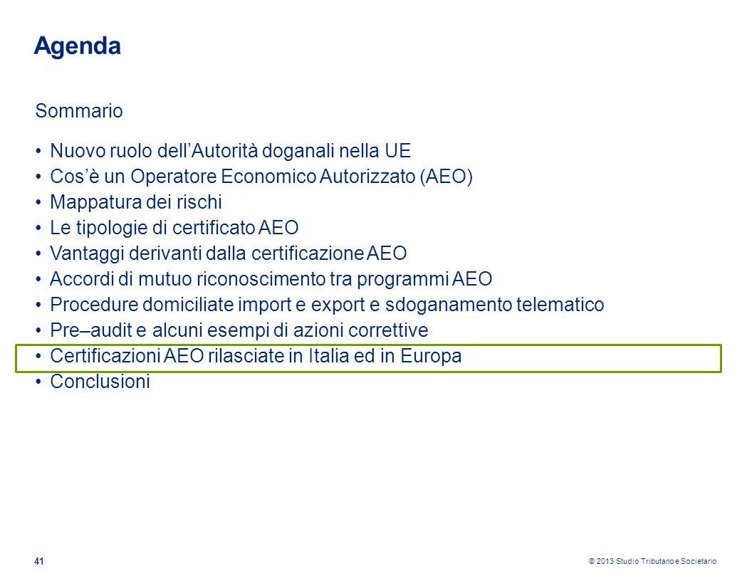 © 2013 Studio Tributario e Societario 41 Agenda Sommario Nuovo ruolo dellAutorità doganali nella UE Cosè un Operatore Economico Autorizzato (AEO) Mapp