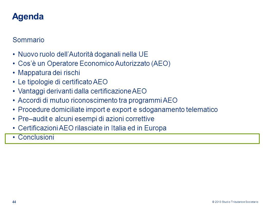 © 2013 Studio Tributario e Societario 44 Agenda Sommario Nuovo ruolo dellAutorità doganali nella UE Cosè un Operatore Economico Autorizzato (AEO) Mapp