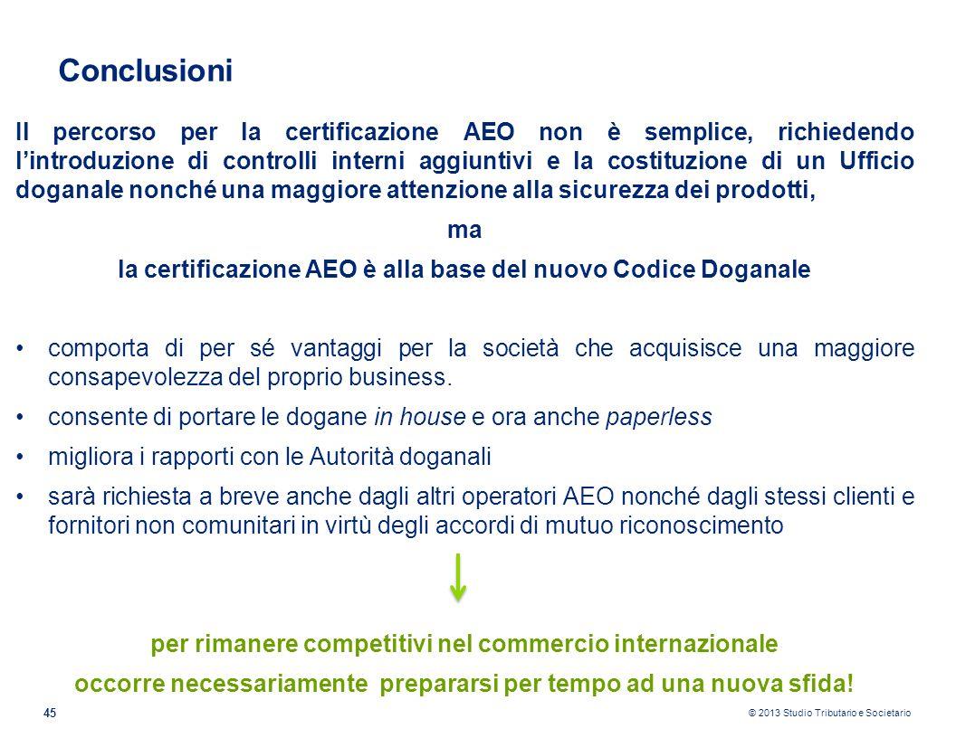 © 2013 Studio Tributario e Societario 45 Il percorso per la certificazione AEO non è semplice, richiedendo lintroduzione di controlli interni aggiunti