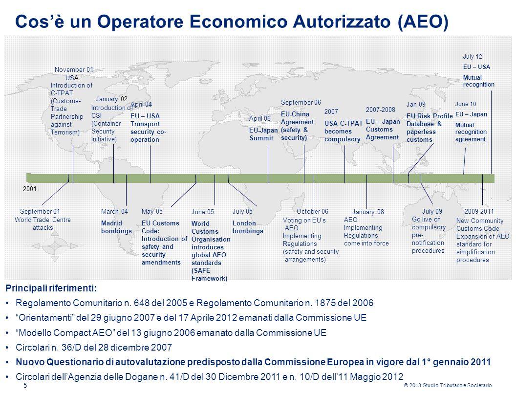© 2013 Studio Tributario e Societario 5 Cosè un Operatore Economico Autorizzato (AEO) Principali riferimenti: Regolamento Comunitario n. 648 del 2005