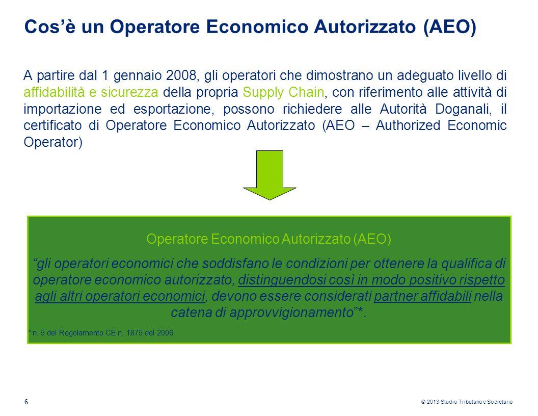 © 2013 Studio Tributario e Societario 6 Cosè un Operatore Economico Autorizzato (AEO) A partire dal 1 gennaio 2008, gli operatori che dimostrano un ad