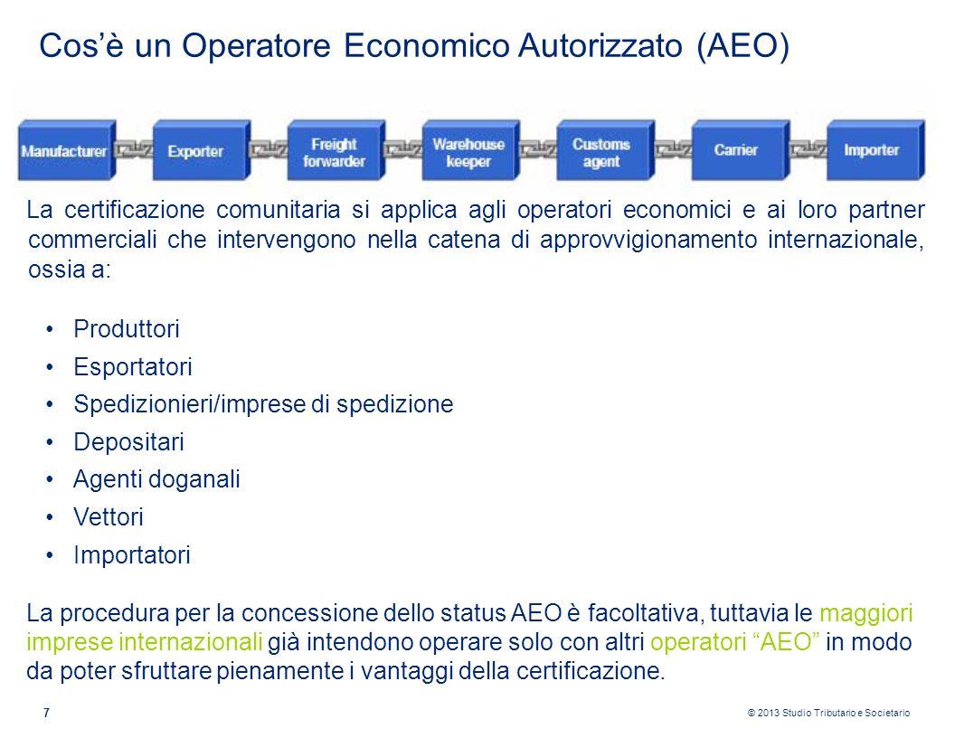© 2013 Studio Tributario e Societario 7 Cosè un Operatore Economico Autorizzato (AEO) La certificazione comunitaria si applica agli operatori economic