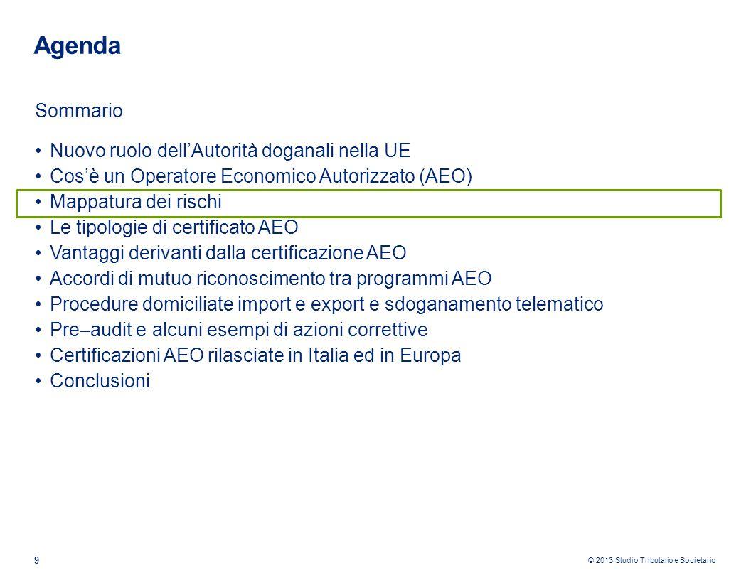 © 2013 Studio Tributario e Societario 30 Agenda Sommario Nuovo ruolo dellAutorità doganali nella UE Cosè un Operatore Economico Autorizzato (AEO) Mappatura dei rischi Le tipologie di certificato AEO Vantaggi derivanti dalla certificazione AEO Accordi di mutuo riconoscimento tra programmi AEO Procedure domiciliate import e export e sdoganamento telematico Pre–audit e alcuni esempi di azioni correttive Certificazioni AEO rilasciate in Italia ed in Europa Conclusioni