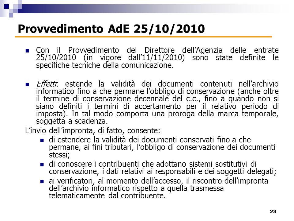Con il Provvedimento del Direttore dellAgenzia delle entrate 25/10/2010 (in vigore dall11/11/2010) sono state definite le specifiche tecniche della comunicazione.