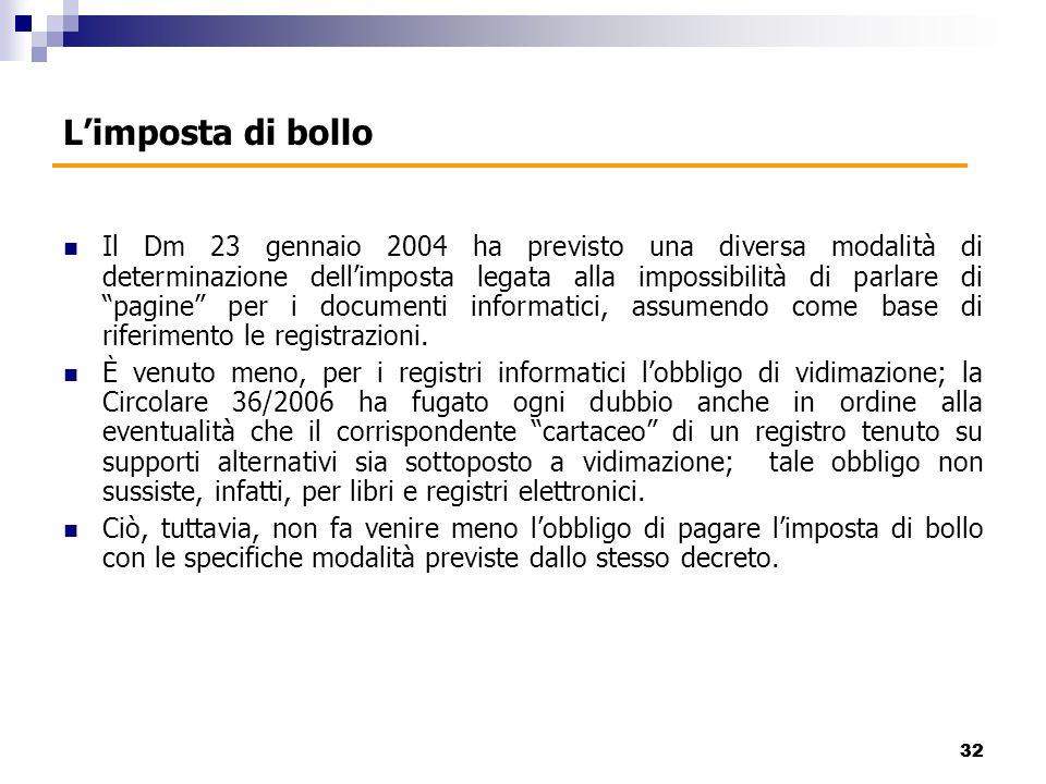 Il Dm 23 gennaio 2004 ha previsto una diversa modalità di determinazione dellimposta legata alla impossibilità di parlare di pagine per i documenti informatici, assumendo come base di riferimento le registrazioni.
