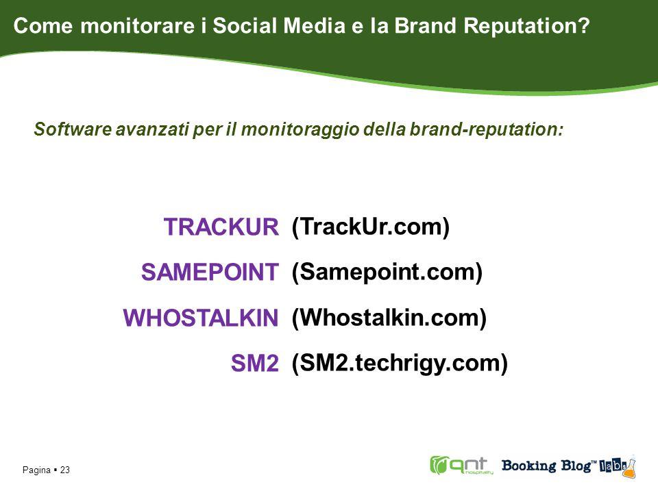 Software avanzati per il monitoraggio della brand-reputation: Pagina 23 TRACKUR SAMEPOINT WHOSTALKIN SM2 (TrackUr.com) (Samepoint.com) (Whostalkin.com) (SM2.techrigy.com) Come monitorare i Social Media e la Brand Reputation