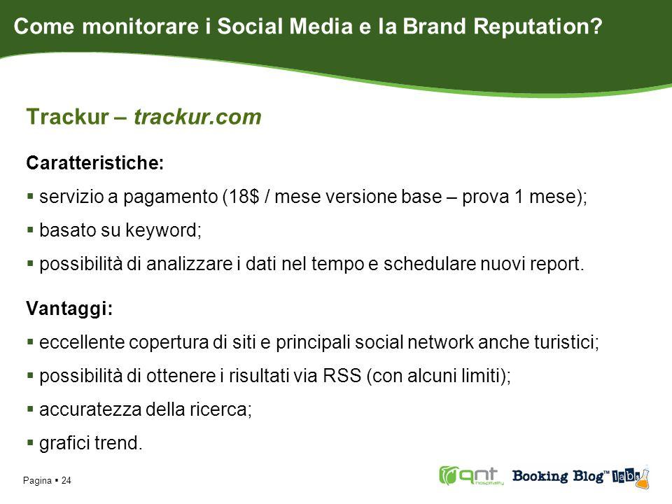 Trackur – trackur.com Caratteristiche: servizio a pagamento (18$ / mese versione base – prova 1 mese); basato su keyword; possibilità di analizzare i dati nel tempo e schedulare nuovi report.