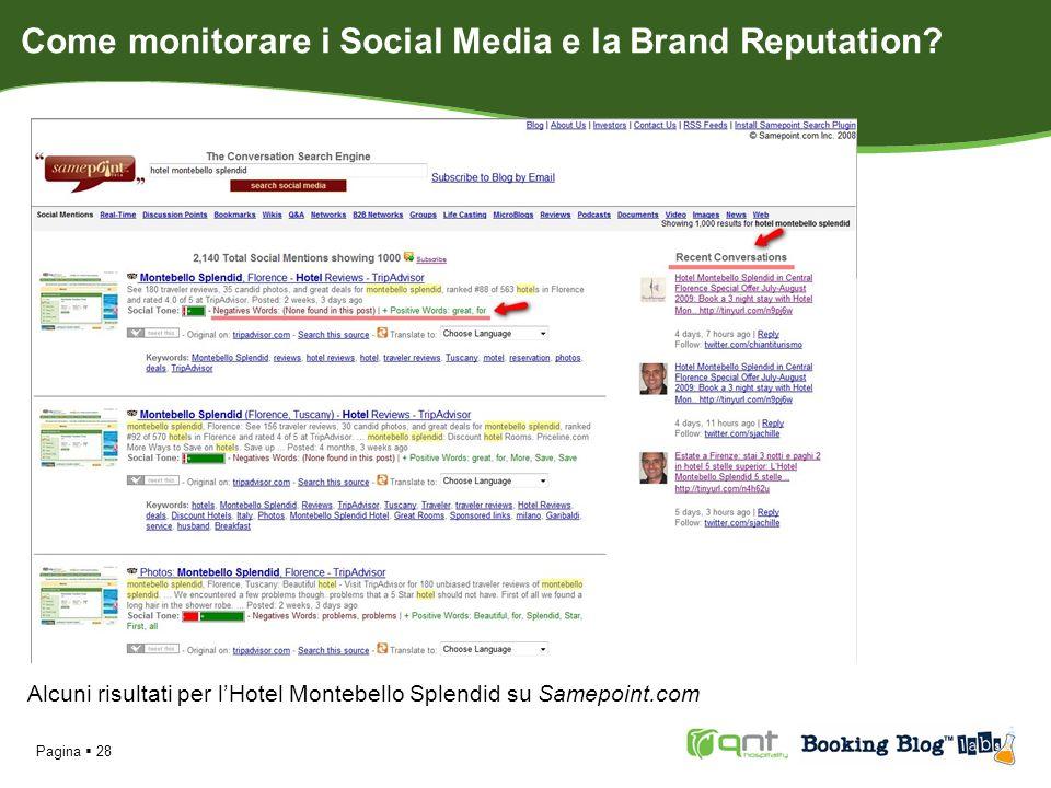 Alcuni risultati per lHotel Montebello Splendid su Samepoint.com Pagina 28 Come monitorare i Social Media e la Brand Reputation