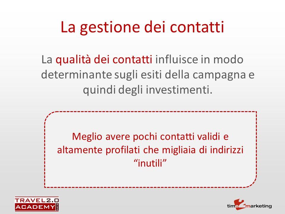 La qualità dei contatti influisce in modo determinante sugli esiti della campagna e quindi degli investimenti.