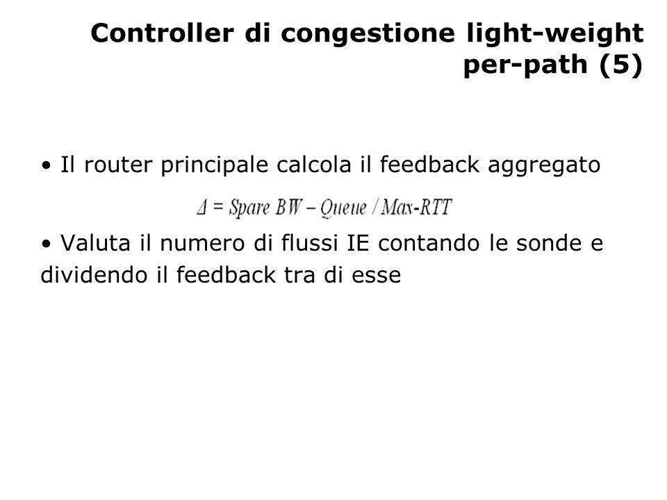 Controller di congestione light-weight per-path (5) Il router principale calcola il feedback aggregato Valuta il numero di flussi IE contando le sonde e dividendo il feedback tra di esse
