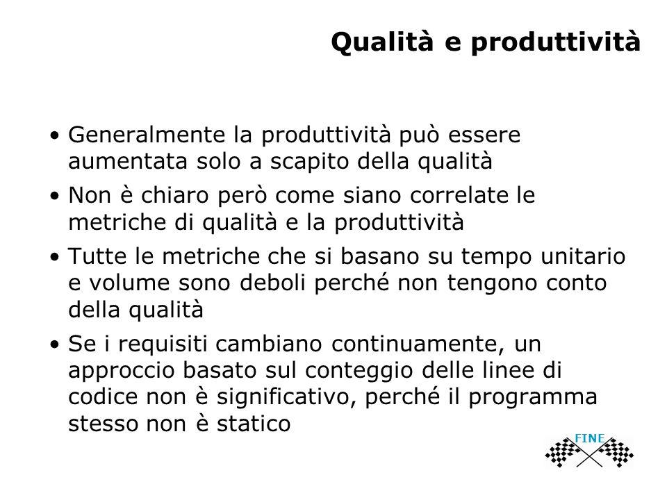 Qualità e produttività Generalmente la produttività può essere aumentata solo a scapito della qualità Non è chiaro però come siano correlate le metric