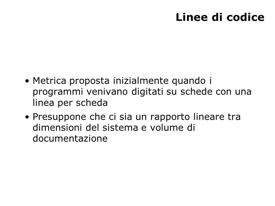 Linee di codice Metrica proposta inizialmente quando i programmi venivano digitati su schede con una linea per scheda Presuppone che ci sia un rapport