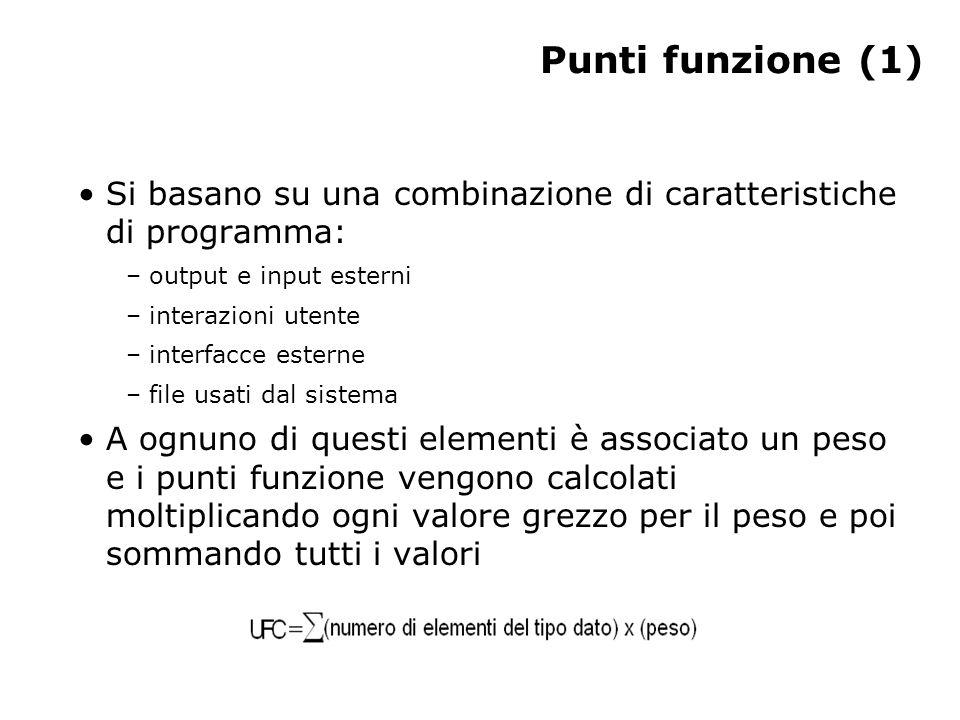 Punti funzione (1) Si basano su una combinazione di caratteristiche di programma: – output e input esterni – interazioni utente – interfacce esterne –