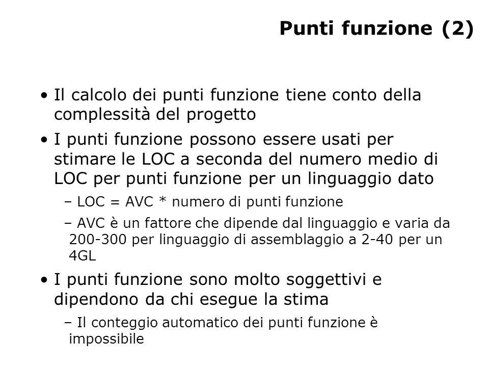 Punti funzione (2) Il calcolo dei punti funzione tiene conto della complessità del progetto I punti funzione possono essere usati per stimare le LOC a