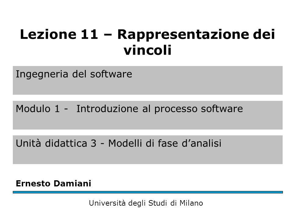 Ingegneria del software Modulo 1 - Introduzione al processo software Unità didattica 3 - Modelli di fase danalisi Ernesto Damiani Università degli Stu