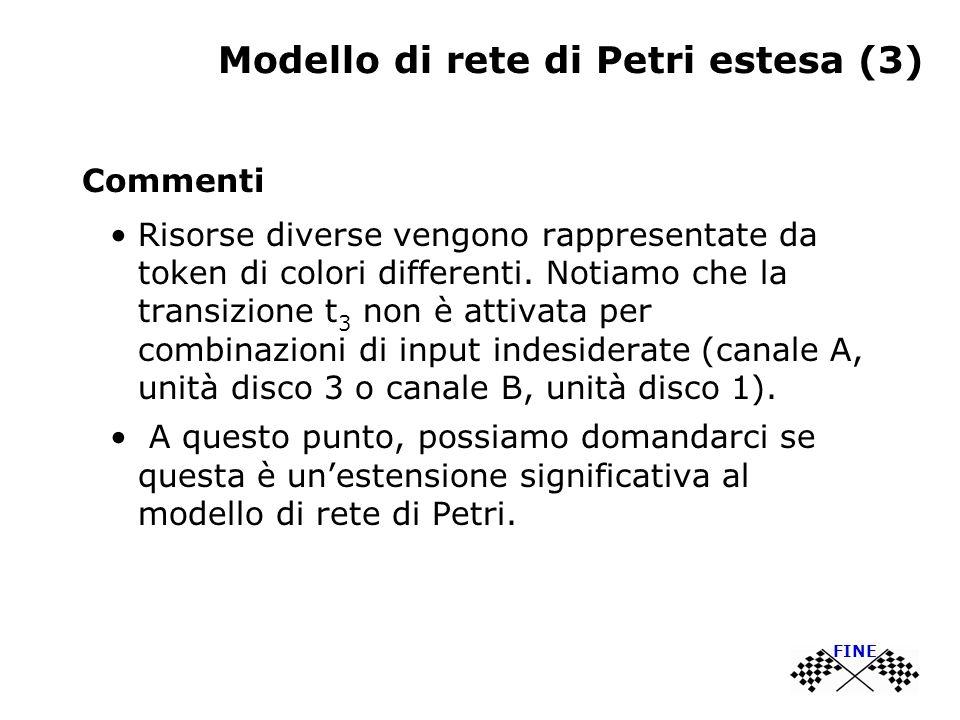 Modello di rete di Petri estesa (3) Commenti Risorse diverse vengono rappresentate da token di colori differenti. Notiamo che la transizione t 3 non è