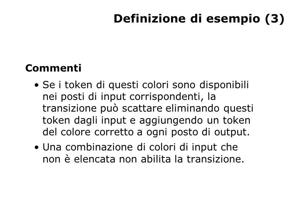 Definizione di esempio (3) Commenti Se i token di questi colori sono disponibili nei posti di input corrispondenti, la transizione può scattare eliminando questi token dagli input e aggiungendo un token del colore corretto a ogni posto di output.