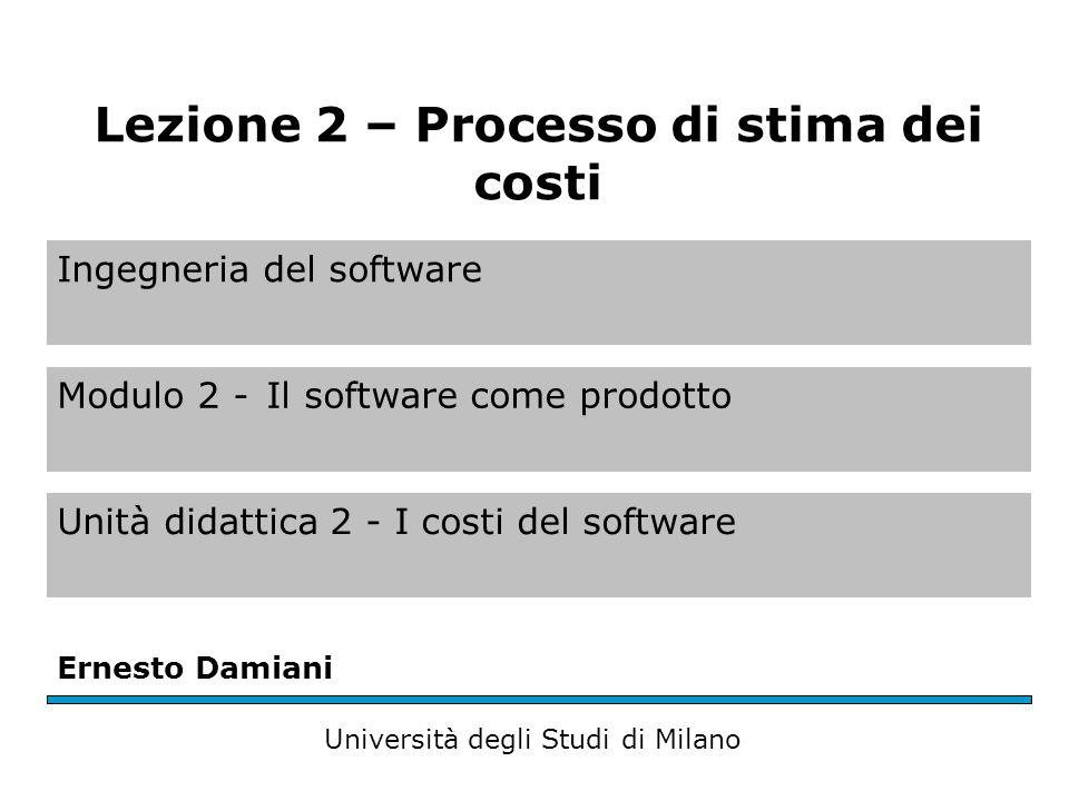 Processo di stima dei costi del software Una serie di tecniche e procedure che viene usata per ottenere la stima dei costi del software Il processo di stima riceve una serie di input che poi usa questi input per generare loutput