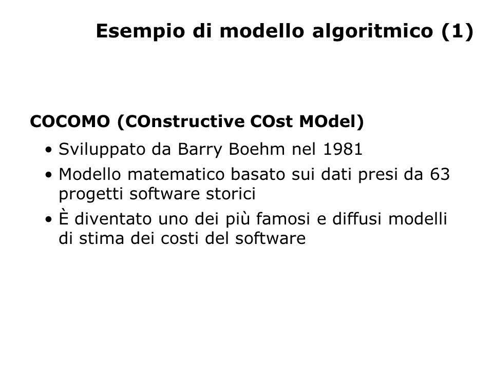 Esempio di modello algoritmico (1) COCOMO (COnstructive COst MOdel) Sviluppato da Barry Boehm nel 1981 Modello matematico basato sui dati presi da 63 progetti software storici È diventato uno dei più famosi e diffusi modelli di stima dei costi del software